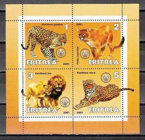 Eritrea, 2001 Cinderella issue. Wild Cats on an sheet of 4. *