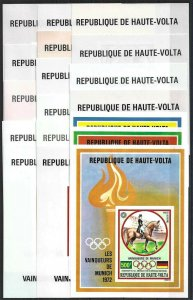 1972 Upper Volta Olympics Munich complete set of 18 imperforated Sheets! RARE!