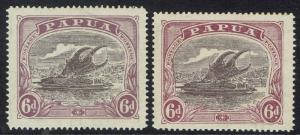 PAPUA 1916 LAKATOI 6D - 2 SHADES WMK CROWN TO THE RIGHT AND LEFT