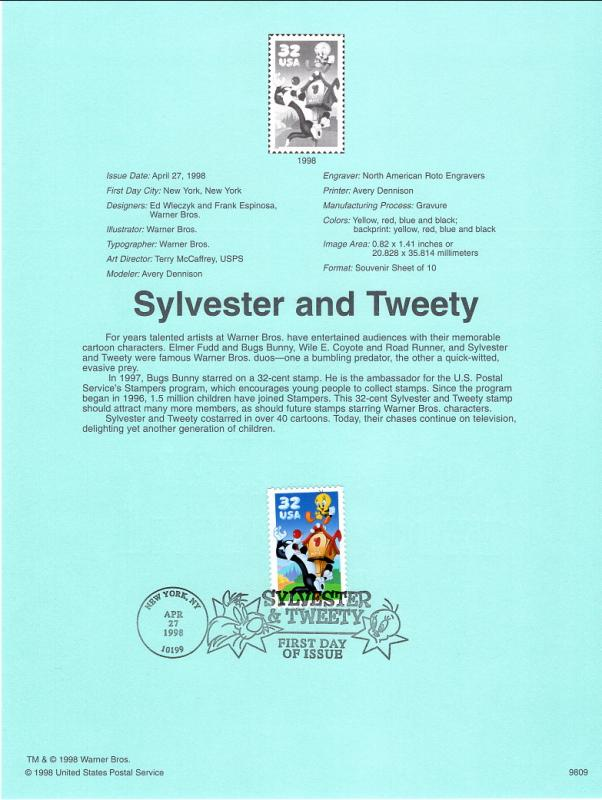 US SP1264 Sylvester and Tweety 3204a Souvenir Page FDC