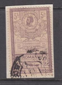 ROMANIA, 1903 New Post Office 5L. Lilac, used on small piece.
