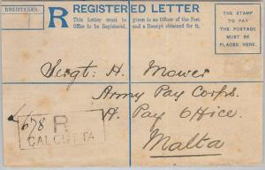 66039 - INDIA - Postal History -  REGISTERED COVER to MALTA 1893