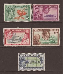Pitcairn Islands scott #1-5 m/h stock #E00072