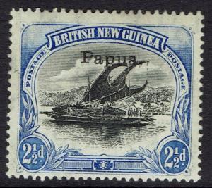 PAPUA 1907 LAKATOI OVERPRINTED SMALL PAPUA 21/2D VERTICAL WMK