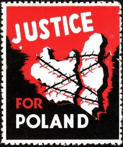 Stamp Label USA 1945 WWII Poster Cinderella Justice for Poland Fundraising MNH