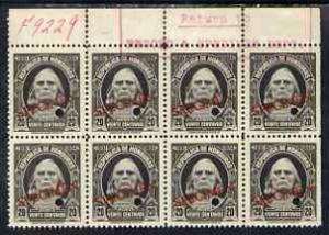 Honduras 1931 Columbus 20c unmounted mint block of 8 optd...