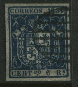 Spain 1854 6 reals dark blue VF used example with beautiful even margins