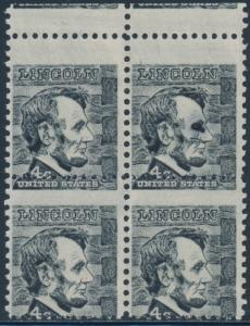#1282 VAR. BLOCK OF 4 LINCOLN WITH MISPERF ERROR BS7324