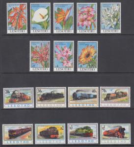 Lesotho Sc 949/976 MNH. 1993 Flowers + 1993 Trains, 2 cplt sets