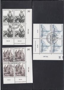 Faroe Islands # 112-114, Fishermen, Corner Blocks of Four, Used, 1/3 Cat.