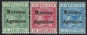 MOROCCO AGENCIES 1899 QV 5C,10C AND 25C