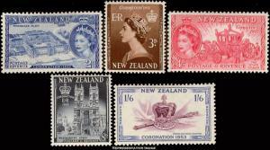 New Zealand Scott 280-284 Mint never hinged.