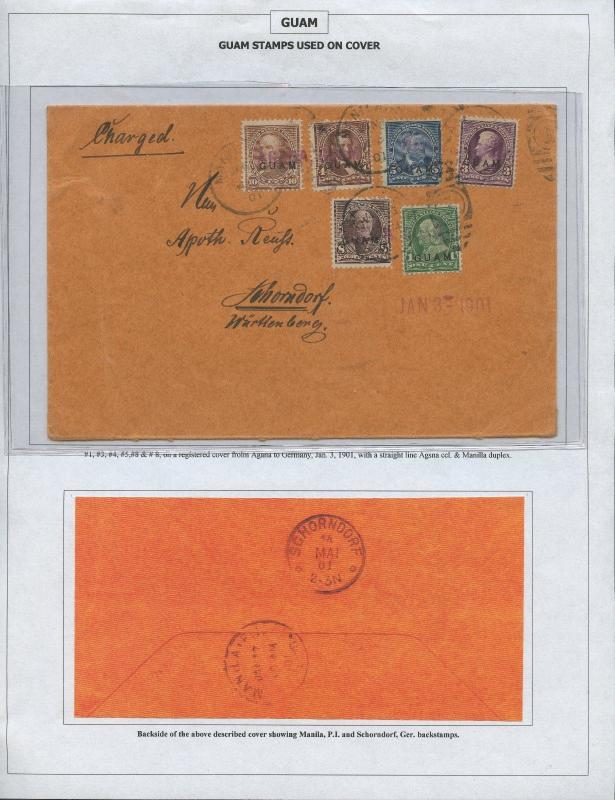 GUAM #1,3-5,7-8 ON COVER WURTIENBURG, GERMANY JAN 3,1901 CV $1,975 BS8406 HS108G
