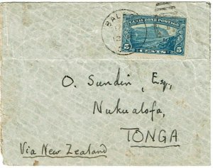 Canal Zone 1942 Balboa cancel on cover to TONGA, censored