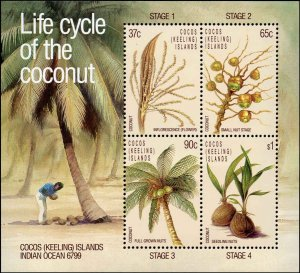 Cocos Islands #176a, Souvenir Sheet of 4, 1988, Never Hinged