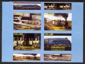 Turkmenistan 2001 Steam Trains imperf sheetlet containing...