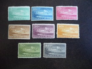 Stamps - Cuba - Scott# C4-C11 - Mint Hinged set of 8 airmail Stamps