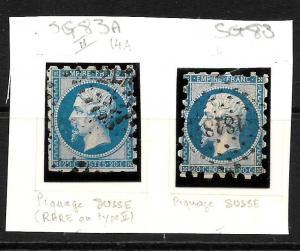 FRANCE  1862  20c   NAPOLEON  ROULETTE TYPE 1&2   FU   SG 83/83a