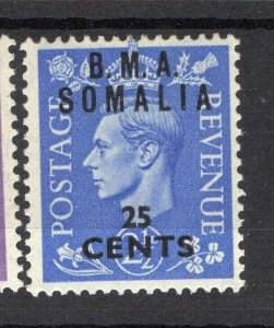 BMA Somalia 1950s Early Issue Fine Mint Hinged 25c. Surcharged Optd NW-14621