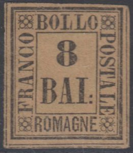 ITALY ROMAGNA 1859 Sc 8 KEY VALUE PLATE FLAW FORGERY UNUSED F,VF (CV$210)