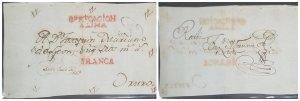 O) 1803 BOLIVIA, FRANCA, PREPHILATELIC, CERTIFICACION A LIMA CANCELLATION IN RED