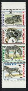 Ethiopia WWF Grevy's Zebra Vertical Strip of 4v SG#1816-1819 MI#1704-1707