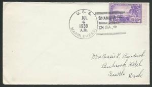 CHINA USA 1938 navy cover USS MARBLEHEAD at Shanghai.......................61151