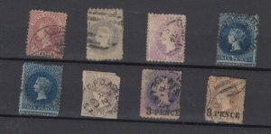South Australia QV Early Collection Of 8 Incl Imperfs/Roulettes Used JK6326