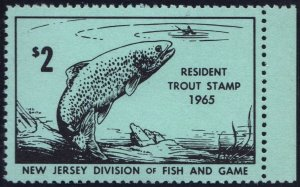 New Jersey Resident Trout Fishing License Stamp (1965) MNH