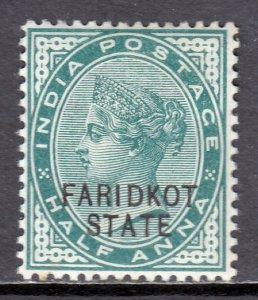 India (Faridkot) - Scott #4 - MH - Exp. mark on reverse - SCV $3.75