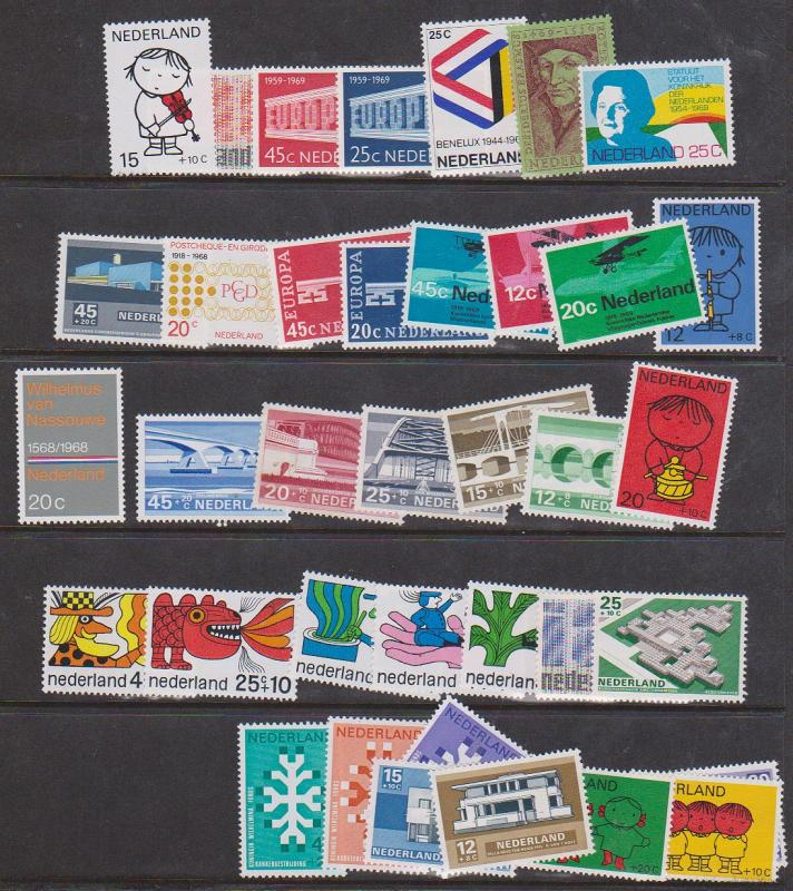 Netherlands 1968-69 Commemoratives & Semi-Postals Complete (37) NH