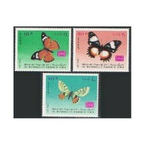 Yemen Kingdom 448A-450A,448B-450B Michel. Butterflies 1968.