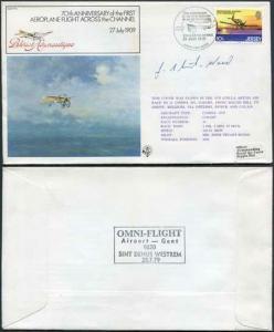 FF5a 70th Ann 1st Aeroplane Flight Across the Channel Signed by J. Stewart-Wood