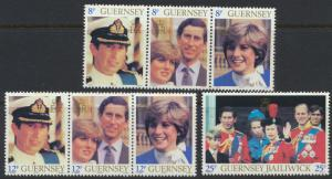 Guernsey SG 232a-238 SC# 224-226 strips of 3 MLH Royal Wedding see details