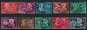 Hungary #C53-62* CV $6.80 Inventors postage stamp set