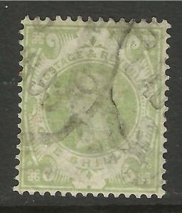 GB 1887 - 92 QV JUBILEE GREEN 1/-d STAMP SG 211 CV £60 (A402)
