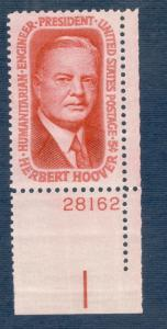 1269 Herbert Hoover US Single W/Plate Number Mint/Nh FREE SHIPPING