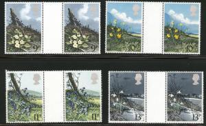 Great Britain Scott 855-8 MNH** 1979 Flower set gutter pairs