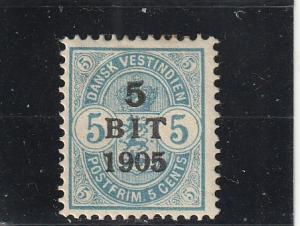 Danish West Indies  Scott#  41  MH  (1905 Surcharged)