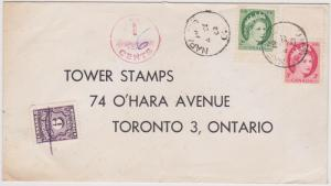 Canada Scarce 6c Postage Due Used on 1962 Overwt Cover Underpd With 3c Tag & 2c