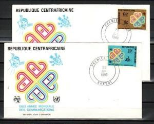 Central Africa, Scott cat. 597-598. Communications Year issue. First Day Covers.