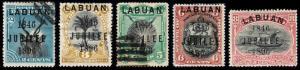 Labuan Scott 67f, 68f, 69b, 70-71 (1896) Used/Mint H F-VF, CV $346.35 B