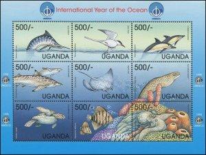 Uganda 1995 Sc 1596 Birds Tern Ray Octopus Turtle Moray Dolphin Shark CV $9