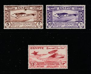 Egypt the 3 low values MH from the 1935 Congress set