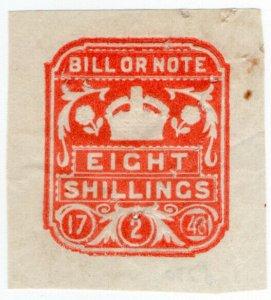 (I.B) George VI Revenue : Bill or Note 8/- (impressed duty)