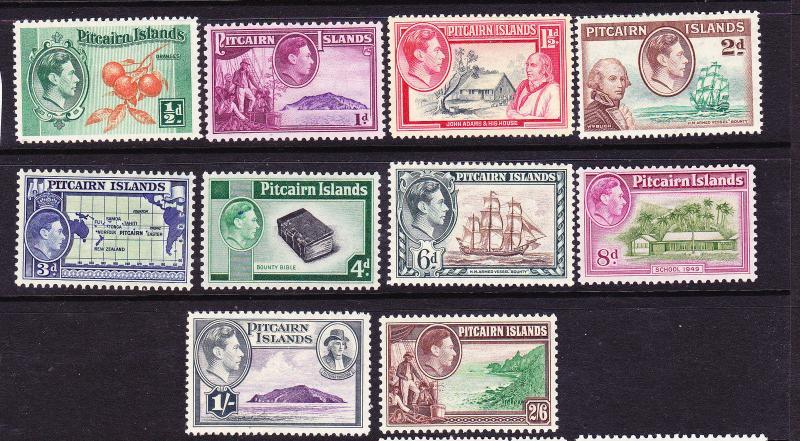 PITCAIRN ISLAND  1940-51  KGVI PICTORIALS  SET 10  MLH