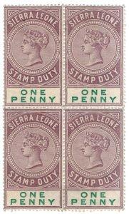 (I.B) Sierra Leone Revenue : Stamp Duty 1d