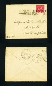 Cover from Baltimore, Maryland to New Castle, New Hampshire dated 10-12-1897