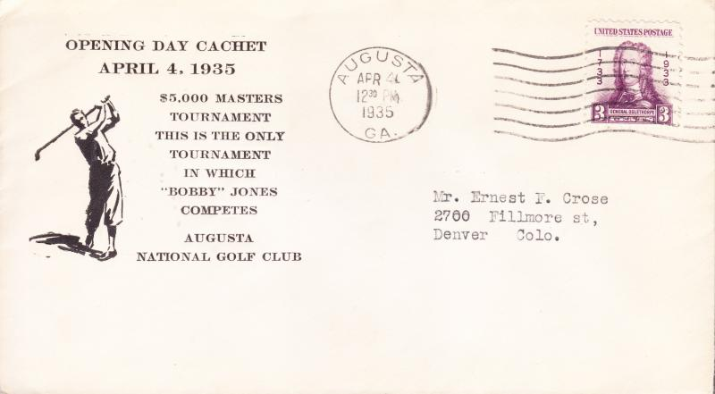 1935 Cover Opening Day Augusta National Golf Club. Bobby Jones