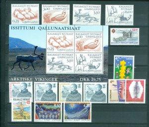 Greenland. 2000 Lot. MNH. 15 Stamps. 1 Souvenir Sheet.